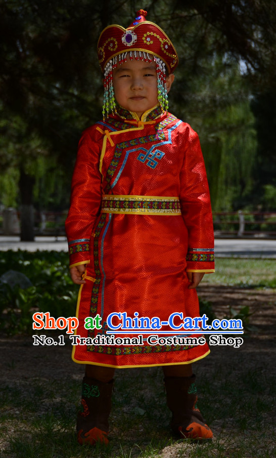 Traditional Chinese Photo Costume Mongolian Costumes and Hat Complete Set for Child