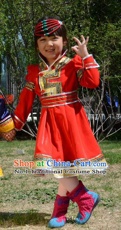 Traditional Chinese Photo Costume Mongolian Clothing and Hat Complete Set for Child