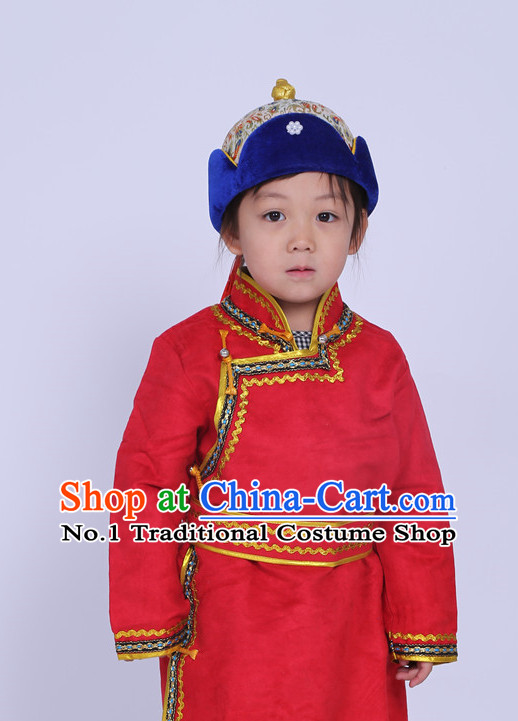 Traditional Chinese Photo Costume Mongolian Long Robe and Hat Complete Set for Children