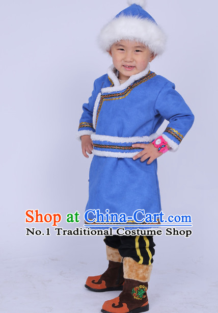 Traditional Chinese Photo Costume Mongolian Long Robe and Hat Complete Set for Boys