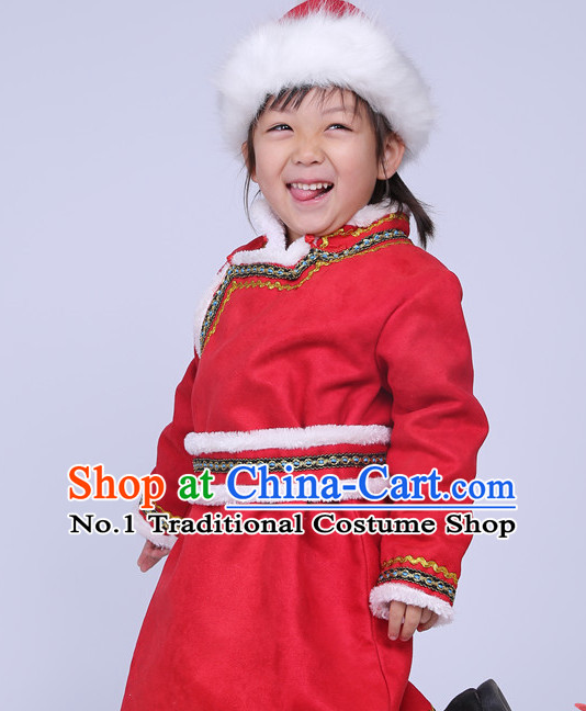 Traditional Chinese Mongolian Long Robe and Hat Complete Set for Girls
