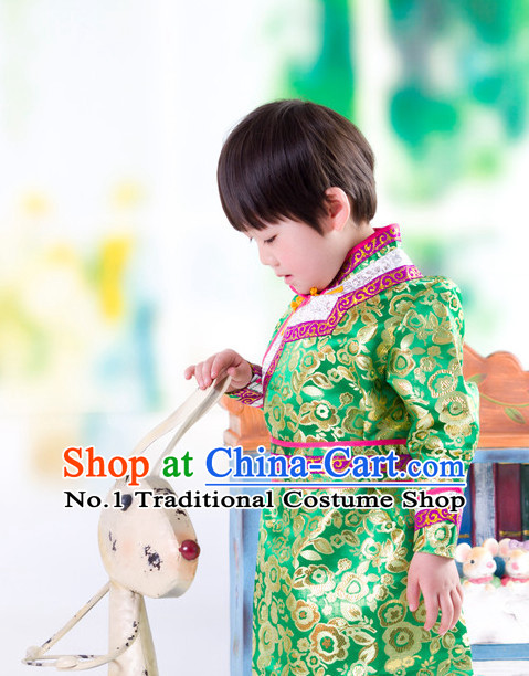 Traditional Chinese Mongolian Dress and Hat Complete Set Kids