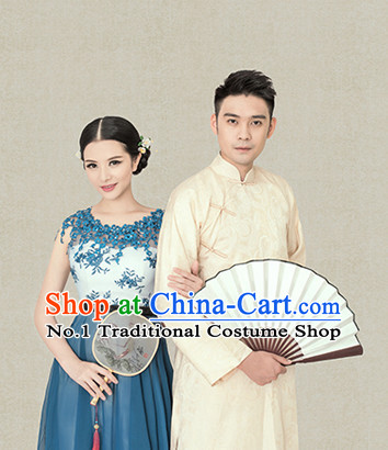Traditional Chinese Photo Costume Long Mandarin Robe for Men