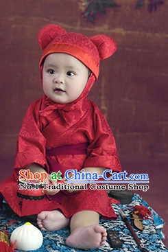 Traditional Chinese Photo Costume Hanfu Dress and Hat Complete Set for Children