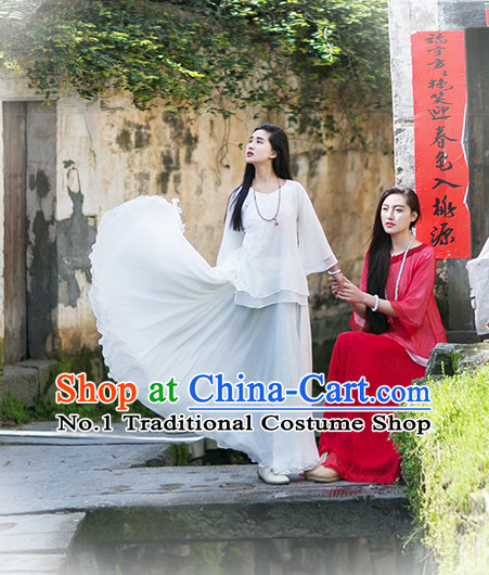 White Oriental Clothing Asian Fashion Chinese Traditional Clothing Shopping online Clothes China online Shop Mandarin Dress Complete Set for Women