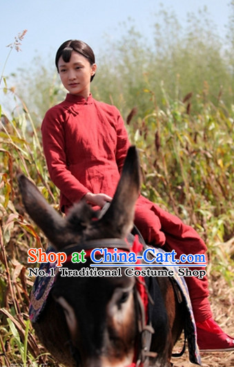 Chinese Traditional Autumn and Winter Clothing Mandarin Blouse and Pants Complete Set for Women