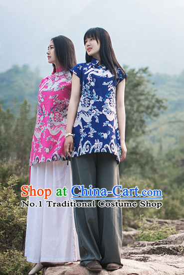 Chinese Traditional Mandarin Dragon Shirt for Women