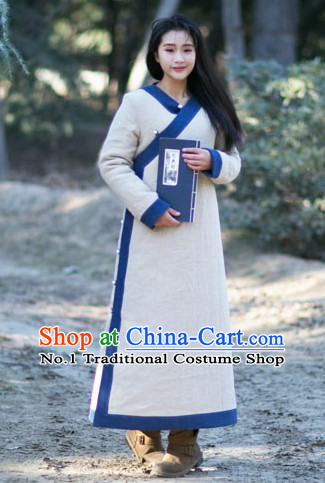 Chinese Traditional Mandarin Long Robe Complete Set for Women