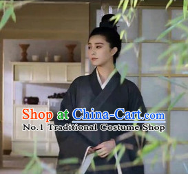 Traditional Chinese Ancient Black Taoist Costumes Complete Set
