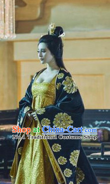 Traditional Chinese Ancient Emperor Costumes and Hair Accessories Complete Set