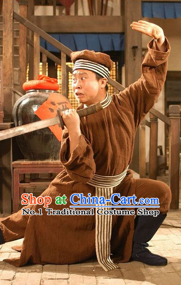 Traditional Chinese Ancient Bodyguard Costumes and Hat Complete Set for Men