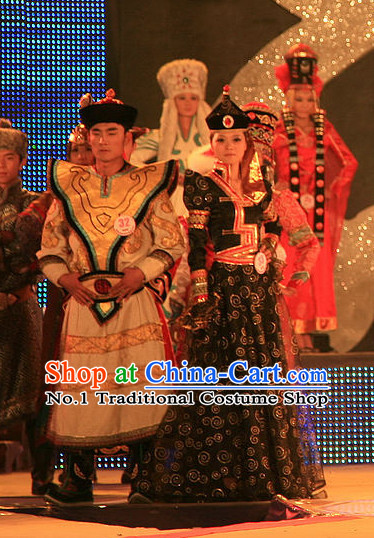 Traditional Chinese Mongolian Clothes 2 Sets for Men and Women