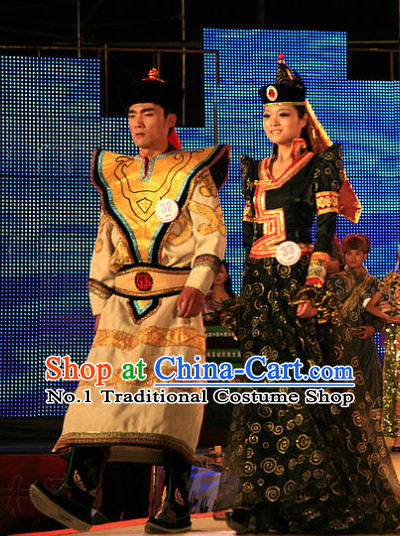 Traditional Chinese Mongolian Attires 2 Sets for Women and Men
