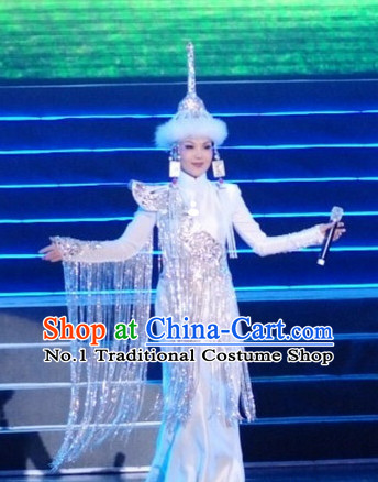 Traditional Chinese Mongolian Dresses and Hat Complete Set for Women