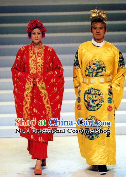 Ancient Chinese Emperor and Empress Costumes and Headwear 2 Sets
