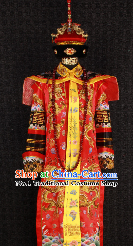 Ancient Chinese Princess Wedding Clothing Suit and Hat Complete Set for Women