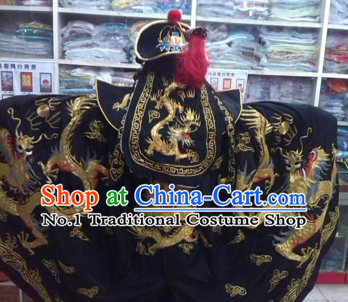Ancient Chinese Mask Changing Black Dragon Embroidered Suit Complete Set for Men