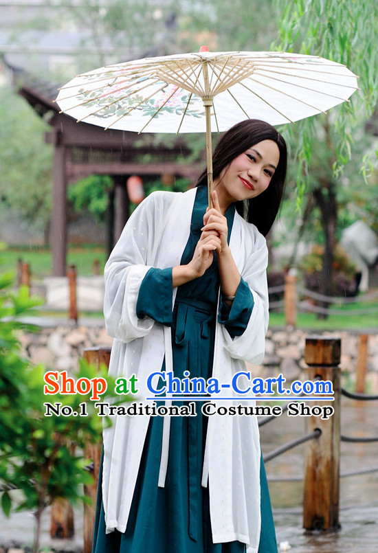 Ancient Chinese Hanfu Clothes and Umbrella Complete Set for Women