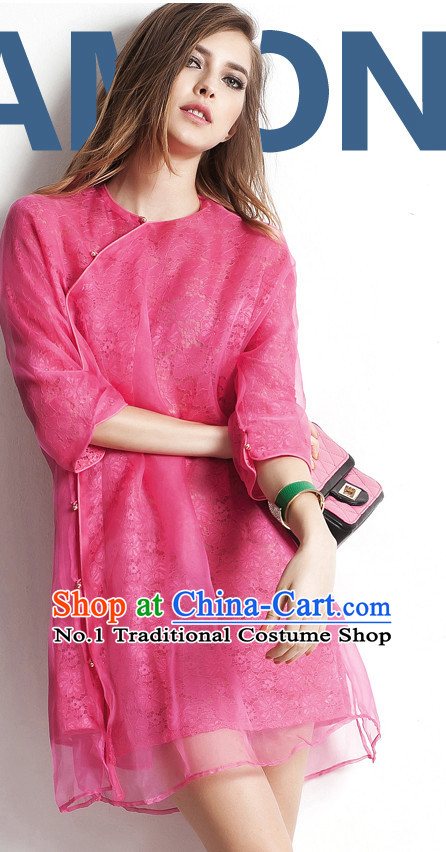 Silk Chinese Traditional Short Sleeves Mandarin Blouse for Women