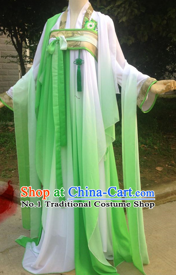Grass Green Ancient Chinese Clothing Complete Set for Women