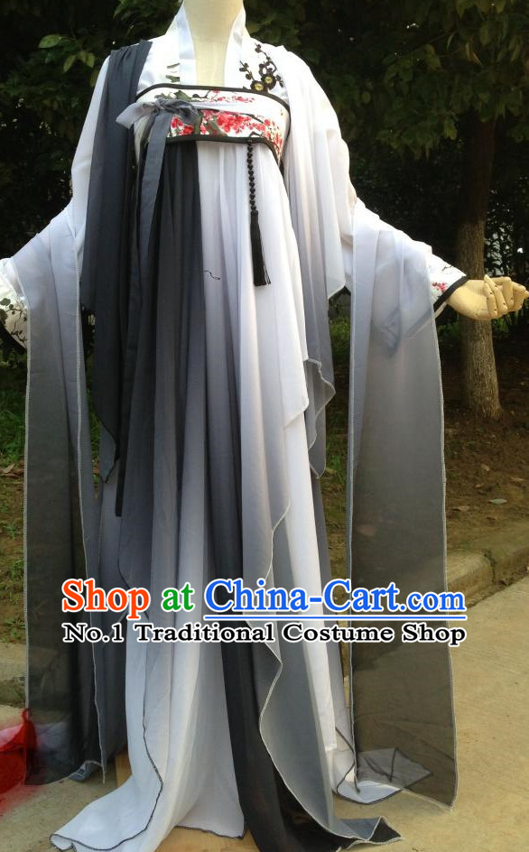 Color Transition Black White Ancient Chinese Clothing Complete Set for Women