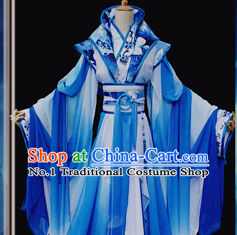 Color Transition Blue and White Ancient Chinese Queen Costume Complete Set for Women
