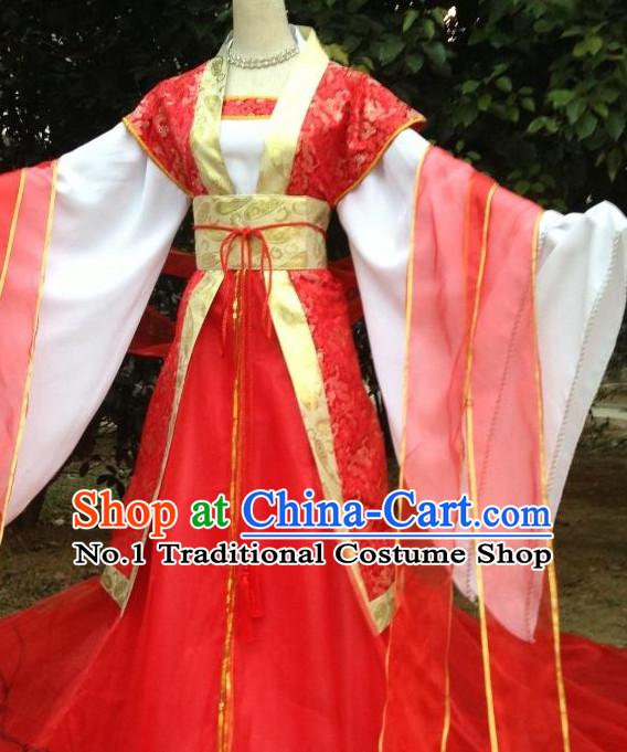 Red Ancient Chinese Bridal Wedding Clothes Complete Set for Women