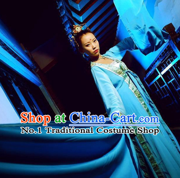 Water Sleeves Blue Chinese Classical Dancing Costumes and Hair Jewelry Complete Set for Women