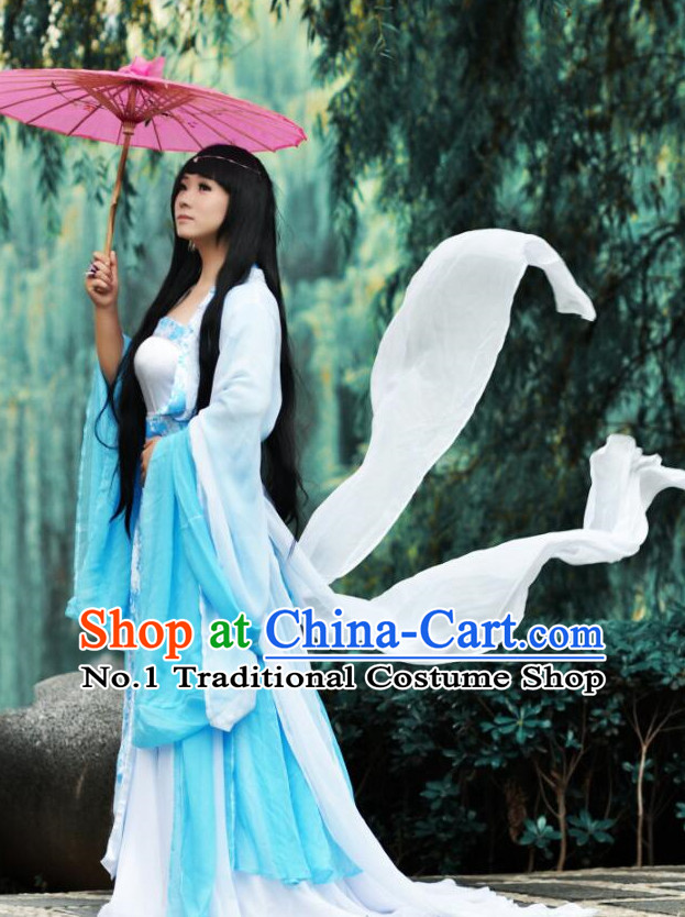 Traditional Chinese Fairy Costumes and Hair Jewelry Complete Set for Women