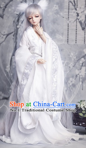 Pure White Traditional Chinese Fairy Costumes and Hair Accessories Complete Set for Women