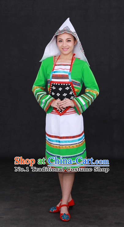 Traditional Chinese Ethnic Jino Nationality People Folk Dresses and Hat Complete Set for Women