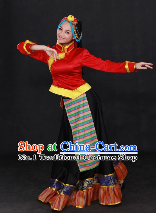 Traditional Chinese Ethnic Tibet Nationality People Folk Dresses and Hat Complete Set for Women