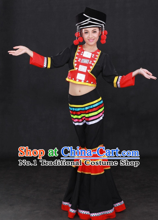 Traditional Chinese Ethnic Achang Nationality People Folk Dresses and Hat Complete Set for Women