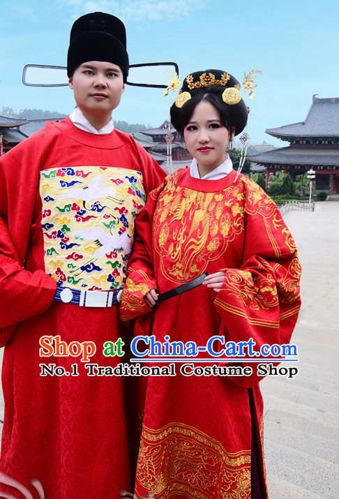 Ancient Chinese Traditional Bridal Wedding Ceremonial Dresses for Men and Women
