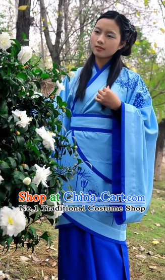 Blue Chinese Folk Hanfu Robe Suit Complete Set for Women
