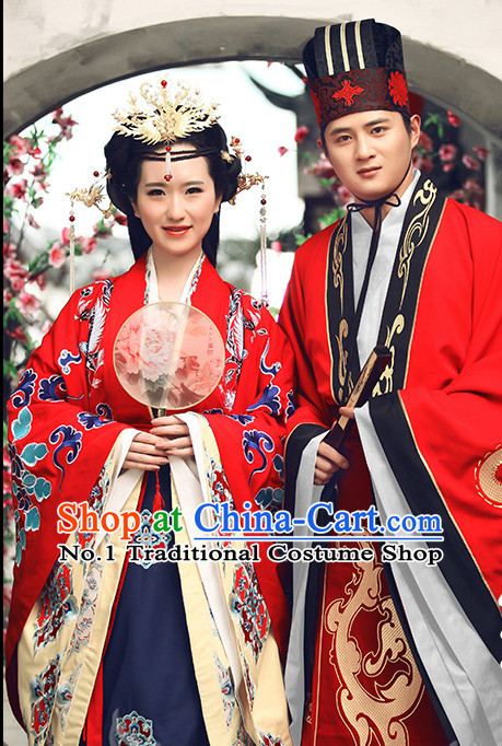Red Chinese Ancient Bridegroom Wedding Dresses and Hat Complete Set for Men and Women