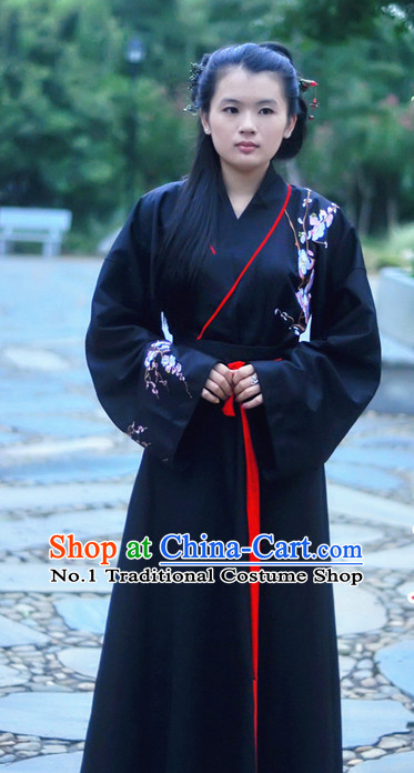 Black China Ancient Cultural Garment Hanfu Clothes Suits for Women