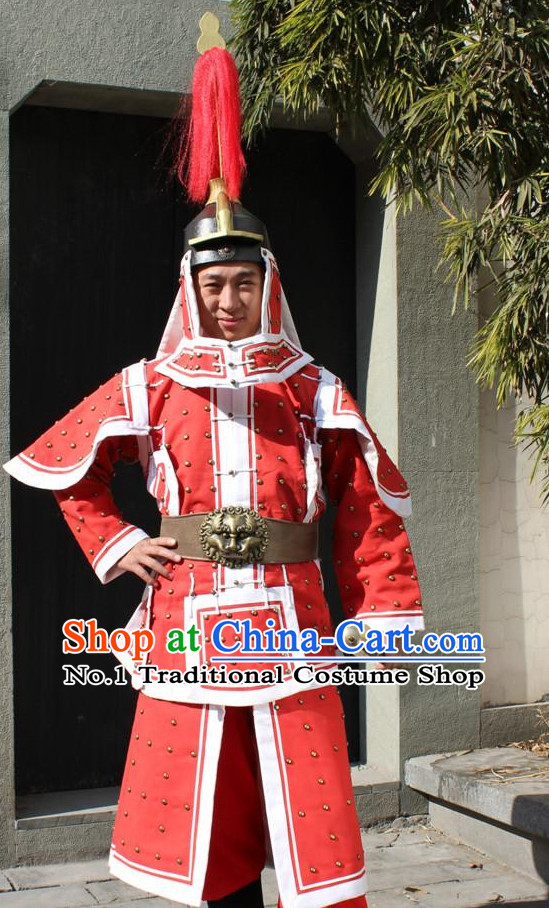 Ancient Chinese General Armor Clothing and Helmet Complete Set for Men