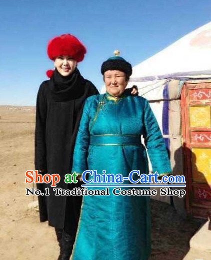 Mongolian Female Clothing and Hat Complete Set