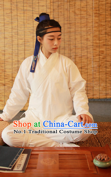Chinese Ancient White Hanfu Inside Clothing Complete Set