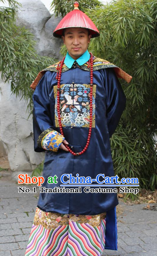 Chinese Ancient Royal Official Costume and Hat Complete Set for Men
