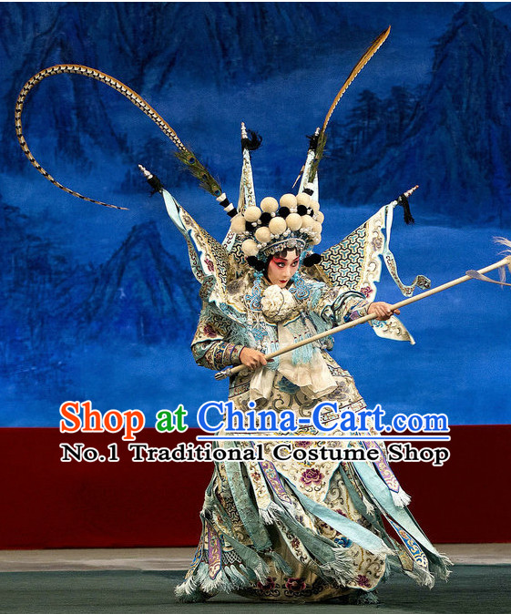 Ancient Chinese Traditonal Beijing Opera Wu Tan Costumes and Helmet Complete Set