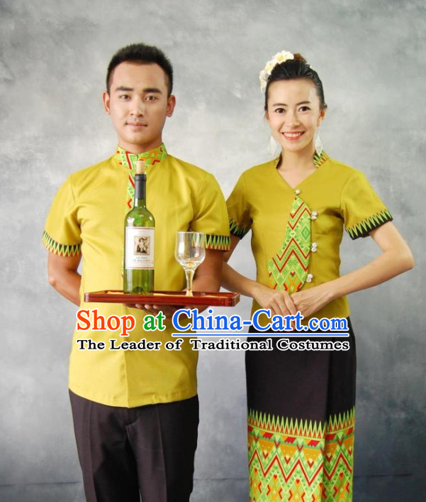 Traditional Thailand Customs Restaurant Waiter and Waitress Male and Female Clothes 2 Sets