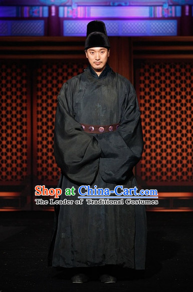 Ancient Korean Prime Minister Costume and Hat Complete Set for Men