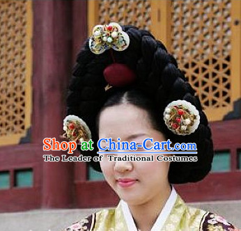 Ancient Korean Palace Lady Long Black Wigs and Hair Jewelry Accessories Complete Set