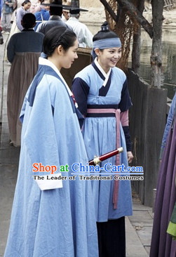 Ancient Korean Female Superhero Costume and Headwear Complete Set