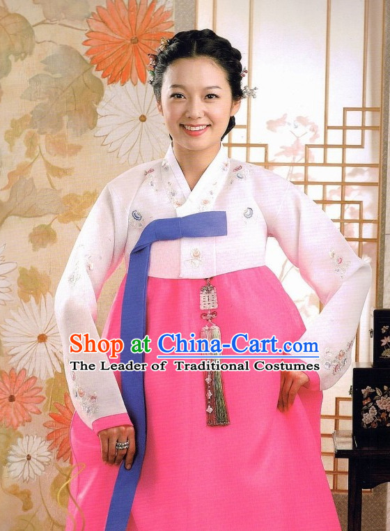 Korean Classic Hanbok Customs Outfit and Hair Accessories Complete Set for Women