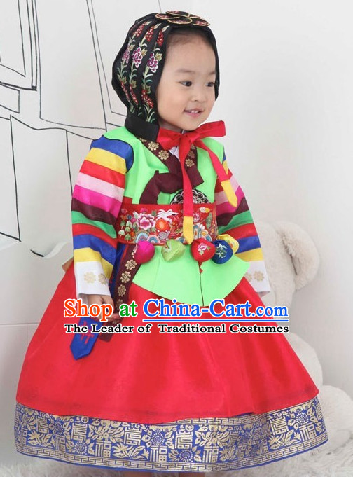 Korean Fashion Hanbok and Hat Complete Set for Baby Girls