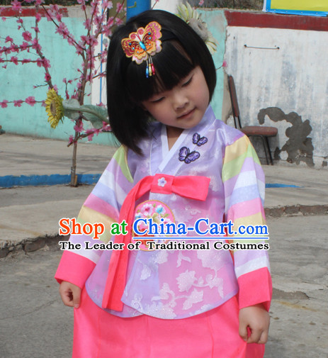 Korean Han Bok Clothes and Hair Accessories Complete Set for Kids