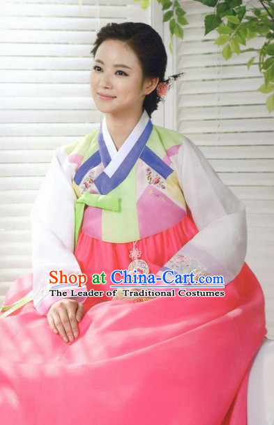 Traditional Korean Fashion Hanbok and Hair Accessories Complete Set for Ladies